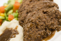 Meatloaf with mashed potatoes Stock Photos