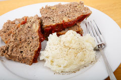 Meatloaf and Mashed Potatoes with Fork Stock Photo