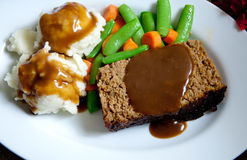 Meatloaf with mashed potatoes and gravy Stock Photo