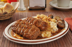 Meatloaf. With mashed potatoes and sauteed mushrooms Stock Images