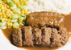 Meatloaf with mashed potatoes and succotash Royalty Free Stock Images