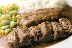 Meatloaf with mashed potatoes and succotash Stock Photos