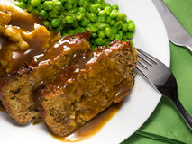 Meatloaf meal. Close-up view of a homemade meatloaf meal Royalty Free Stock Image
