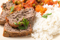 Meatloaf meal with rice from above Royalty Free Stock Photography