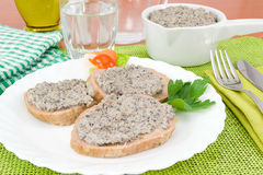 Meatloaf with mushroom sauce Stock Photos