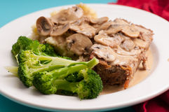 Meatloaf with mushroom sauce Royalty Free Stock Photo
