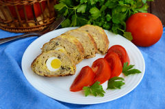 Meatloaf with mushrooms and boiled egg Royalty Free Stock Photos