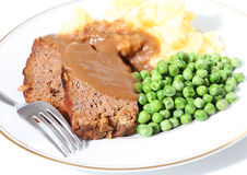 Meatloaf peas potato and gravy Royalty Free Stock Photo