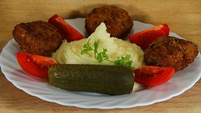 Meatloaf with potato puree Royalty Free Stock Image