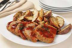 Meatloaf and potatoes Stock Photos