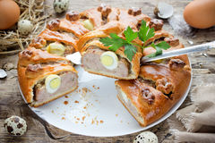 Meatloaf ring stuffed eggs Stock Image