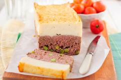 Meatloaf Topped with Cheesy Mashed Potato Stock Photos