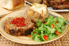Meatloaf and toss green salad Stock Photography