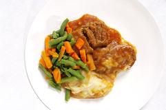 Meatloaf  vegetable food. Meat nourishment  portion meat  with mashed potato gravy Royalty Free Stock Photo