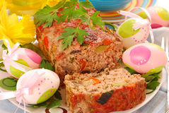 Meatloaf with vegetables for easter Stock Images