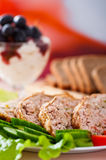 Meatloaf ,vegetables ,ice cream, Royalty Free Stock Photos