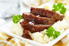 Meatloaf With Brown Sauce Stock Photos