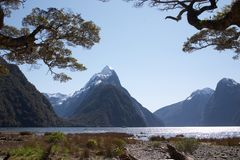 Meatre Peak NZ. Mitre peak, Milford sound in New-Zealand south island stock image