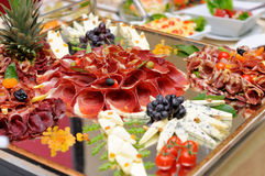 Meats and cheese selection Stock Image