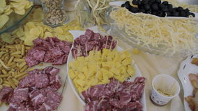 Meats and cheese selection stock footage