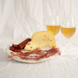 Meats and cheese with wine royalty free stock photos