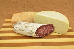 Meats and cheeses royalty free stock photo