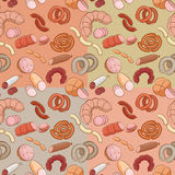 Meats Doodles Patterns Stock Images