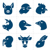 Meats icons. Collection of nine blue vector meats icons Royalty Free Stock Photo