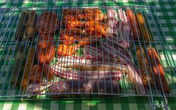 Fresh Grilled Meat on top of a table prepared for grilling Royalty Free Stock Photography
