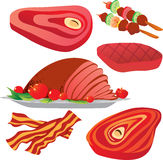 Meats. Vector illustration of raw and cooked meats isolated on white Stock Photo