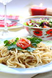meatspagetti Arkivfoto