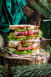 Meaty homemade sandwich with vegetables Royalty Free Stock Photography