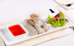 Meaty Spring Rolls Main Dish with Dipping Sauce Royalty Free Stock Images