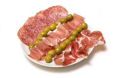 Meaty Tapas plate Stock Images