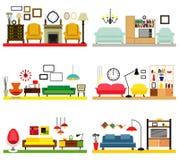 Meblarscy pomysły dla żyć pokój Fotografia Stock