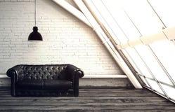 meblarska rzemienna żywa izbowa ustalona kanapa Obraz Stock