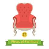 Meble, antykwarski krzesło barok, płaski projekt royalty ilustracja