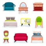 Meble dla sypialnia setu, wewnętrznego projekta elementy dla biura lub domowe wektorowe ilustracje na białym tle, royalty ilustracja