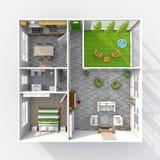 Meblujący domowy mieszkanie z zielonym patiem royalty ilustracja