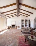 Mebluje żywego pokój z pięknymi szalunków promieniami fotografia royalty free