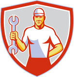 Mecánico Holding Wrench Crest retro libre illustration