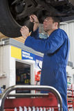 Mecánico que trabaja bajo el coche fotografía de archivo
