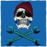 Mecánico Skull Poster Foto de archivo libre de regalías