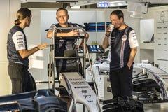 Mecánicos de Williams Martini Racing Foto de archivo