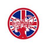 Mecânico britânico Union Jack Flag Mascot da bicicleta ilustração stock