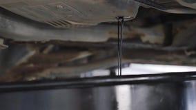 Mecânico de carro que sai o óleo de um carro durante sua mudança de óleo em um serviço vídeos de arquivo