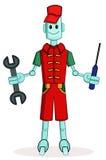 Mecânico do robô com chave e chave de fenda ilustração royalty free