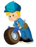 Mecânico dos desenhos animados - menino Imagens de Stock Royalty Free