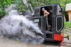 Mecânico em um trem do vapor Fotografia de Stock