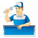 Mecânico experiente com chapéu azul Imagens de Stock Royalty Free